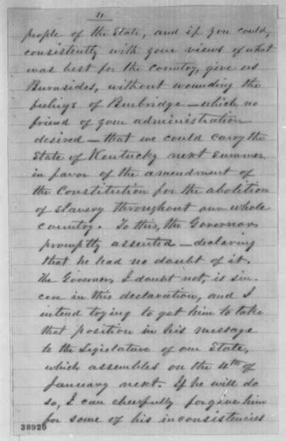 Albert G. Hodges to Abraham Lincoln, Thursday, December 01, 1864  (Meeting with Gov. Bramlette regarding affairs in Kentucky)