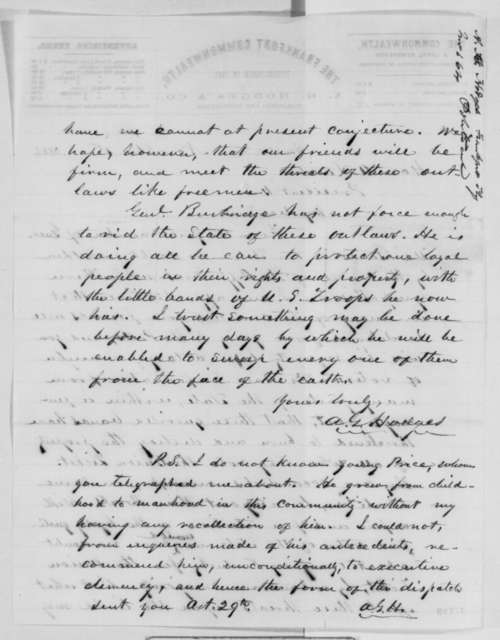 Albert G. Hodges to Abraham Lincoln, Tuesday, November 01, 1864  (Affairs in Kentucky)