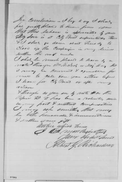 Albert G. Richardson to Abraham Lincoln, Monday, October 24, 1864  (Distribution of reading materials to soldiers)