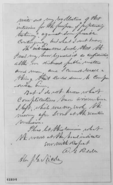 Albert G. Riddle to John G. Nicolay, Saturday, May 07, 1864  (Recollections of interview with Lincoln concerning Frank Blair)