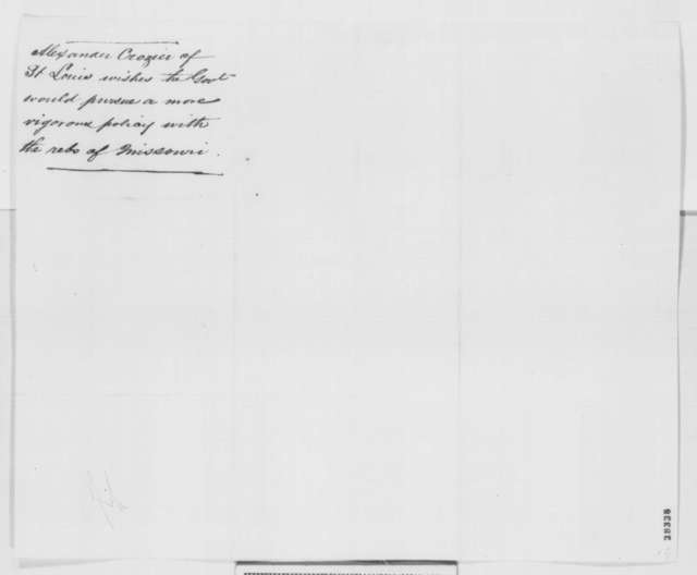 Alex Crozier to Abraham Lincoln, Tuesday, November 15, 1864  (Affairs in Missouri)