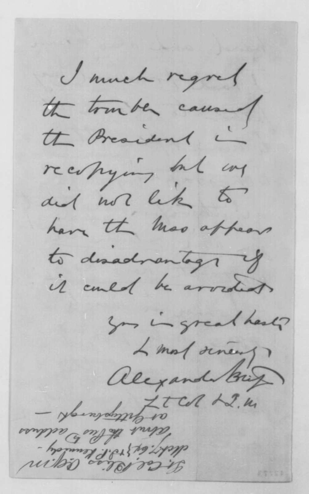 Alexander Bliss to John G. Nicolay, Monday, March 07, 1864  (Autograph copy of Gettysburg Address)