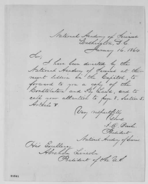 Alexander D. Bache to Abraham Lincoln, Saturday, January 16, 1864  (Cover letter)