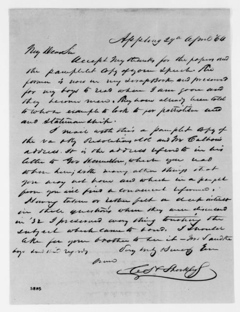 Alexander Hamilton Stephens Papers: General Correspondence, 1784-1886; 1864, Apr. 8-Aug. 18