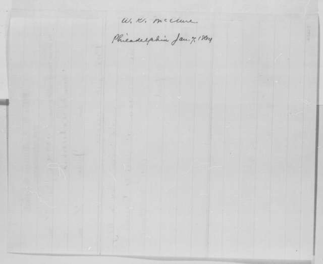 Alexander K. McClure to Abraham Lincoln, Thursday, January 07, 1864  (Telegram requesting an interview)