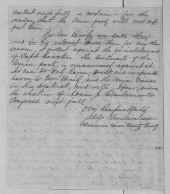 Alexander Underwood to Abraham Lincoln, Wednesday, May 04, 1864  (Case of Charles Garretson)
