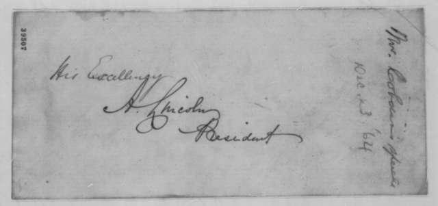 Alexander Williamson to Abraham Lincoln, Friday, December 23, 1864  (Sends speech by Richard Cobden)