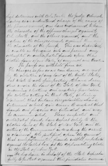 Amasa J. Parker, William Kelly and W. F. Allen to Edwin M. Stanton, Tuesday, November 01, 1864  (New York commissioners protest arrest of Col. Samuel North)