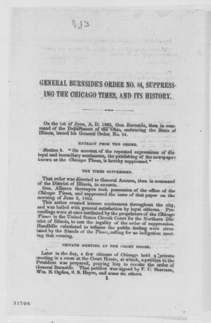Ambrose E. Burnside, et al.,  1864  (Printed correspondence)