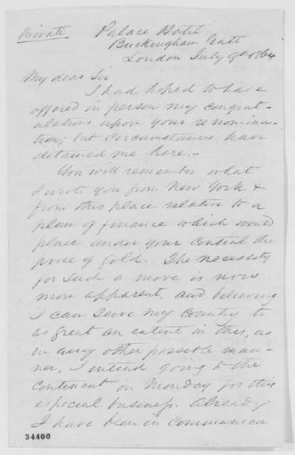 Ambrose W. Thompson to Abraham Lincoln, Saturday, July 09, 1864  (Financial affairs)