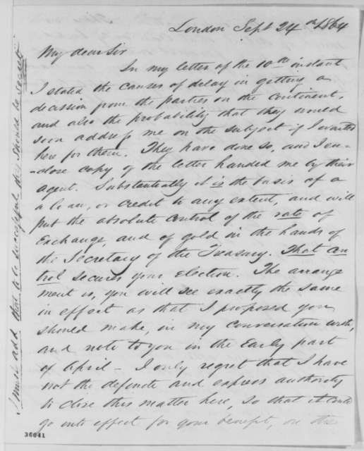 Ambrose W. Thompson to Abraham Lincoln, Saturday, September 24, 1864  (Arrangements for a loan in Europe)