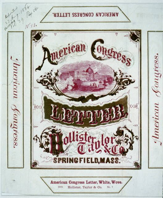 American Congress letter -  Hollister, Taylor & Co., Springfield, Mass.