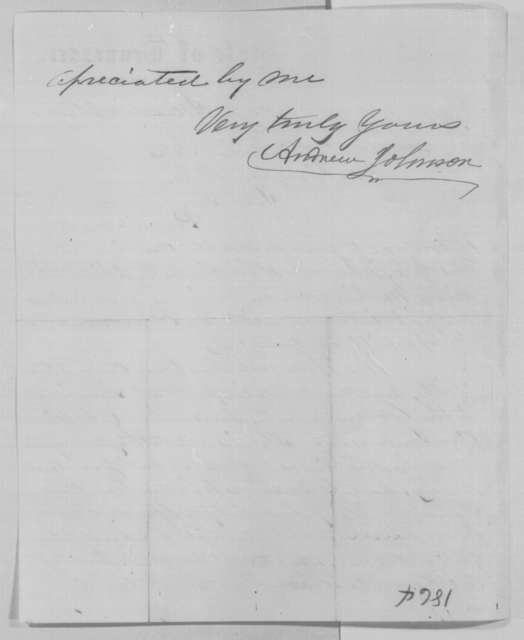 Andrew Johnson to Abraham Lincoln, Friday, December 30, 1864  (Introduction)