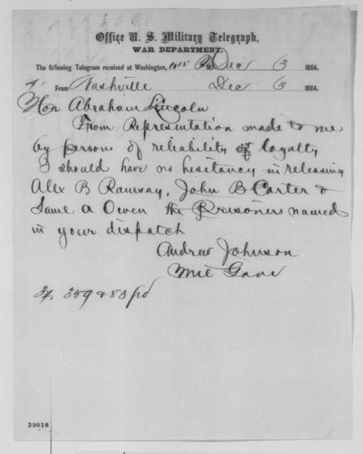Andrew Johnson to Abraham Lincoln, Saturday, December 03, 1864  (Telegram concerning cases of Kinney, Carter and Owens)