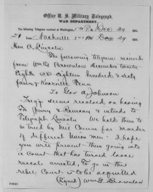 Andrew Johnson to Abraham Lincoln, Thursday, December 29, 1864  (Telegram concerning cases of Fox, Sperry and Ramsey)