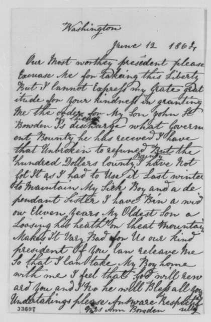 Ann Bowden to Abraham Lincoln, Sunday, June 12, 1864  (Appreciates her son's discharge from the army)