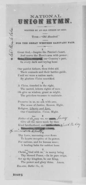 """Anonymous """"An Old Citizen of Ohio"""", Thursday, January 14, 1864  (Printed Hymn)"""
