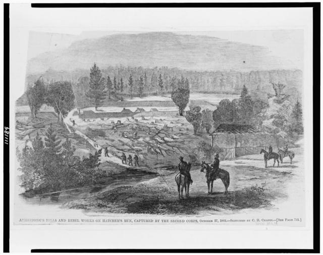 Armstrong's mills and rebel works on Hatcher's Run, captured by the Second Corps, October 27, 1864 / sketched by C.H. Chapin.