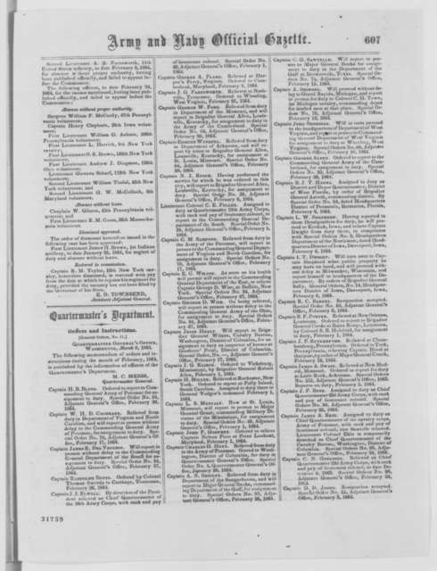 Army and Navy Official Gazette, Tuesday, March 22, 1864  (Printed periodical)