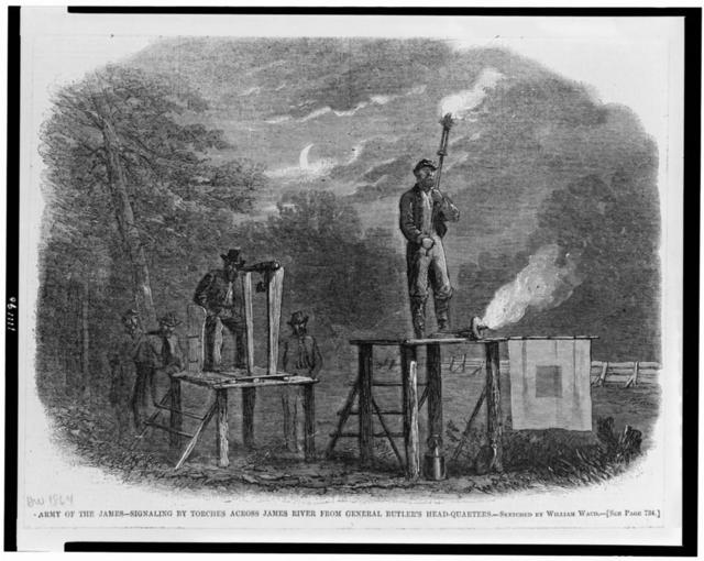 Army of the James - signaling by torches across James River from General Butler's head-quarters / sketched by William Waud.