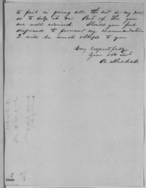 Arnold Krekel to Edward Bates, Wednesday, November 09, 1864  (Seeks office)