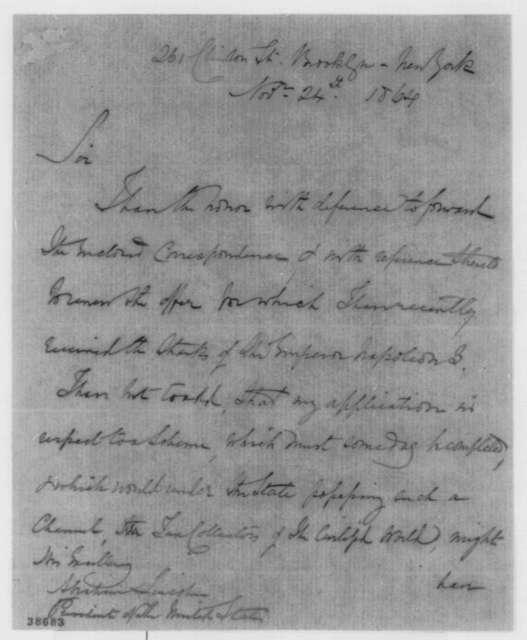 Arthur Kinloch to Abraham Lincoln, Thursday, November 24, 1864  (Sends correspondence)