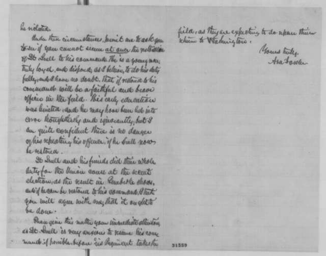 Asa Fowler to Edward H. Rollins, Monday, March 14, 1864  (Case of Lt. Jason Snell)