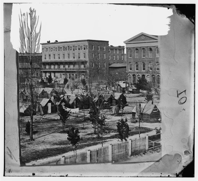 [Atlanta, Ga. Trout House, Masonic Hall, and Federal encampment on Decatur Street]