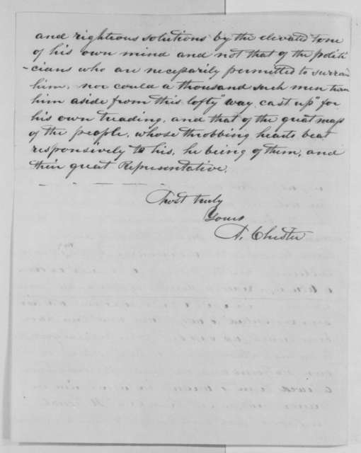 Augustin Chester to Abraham Lincoln, Thursday, March 03, 1864  (Connecticut politics; with extract)
