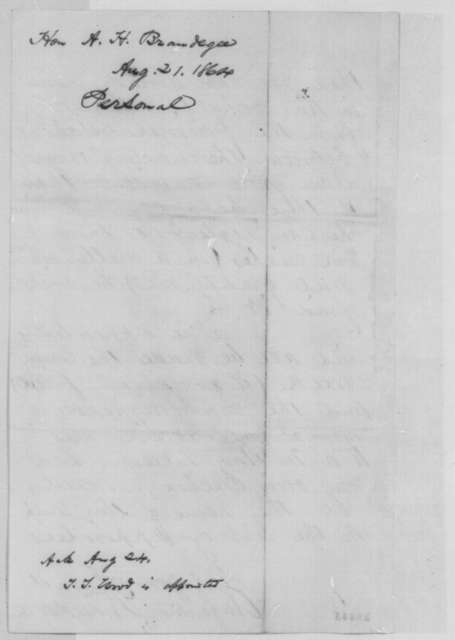 Augustus Brandegee to Abraham Lincoln, Sunday, August 21, 1864  (Nephew's appointment to naval academy)