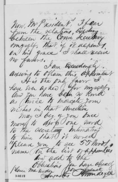 Augustus Brandegee to Abraham Lincoln, Wednesday, July 20, 1864  (Appointment of his nephew to the naval academy)