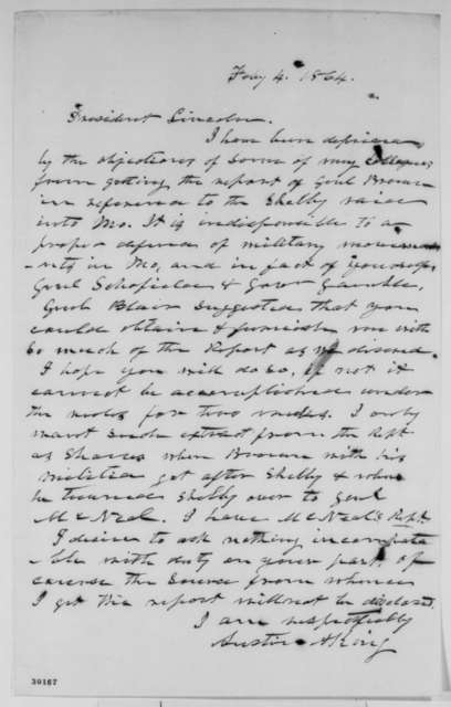 Austin A. King to Abraham Lincoln, Thursday, February 04, 1864  (Requests report)