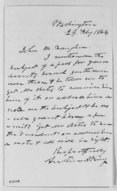 Austin A. King to John M. Vaughn, Monday, February 29, 1864  (Pass for Mrs. Christian Swann; endorsed by Vaughn and Edward Bates)