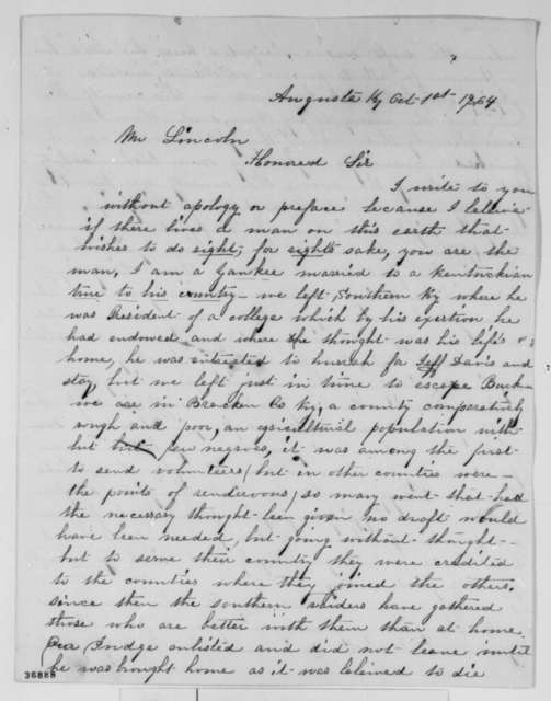Avis W. Blewett to Abraham Lincoln, Saturday, October 01, 1864  (Conscription in Kentucky)