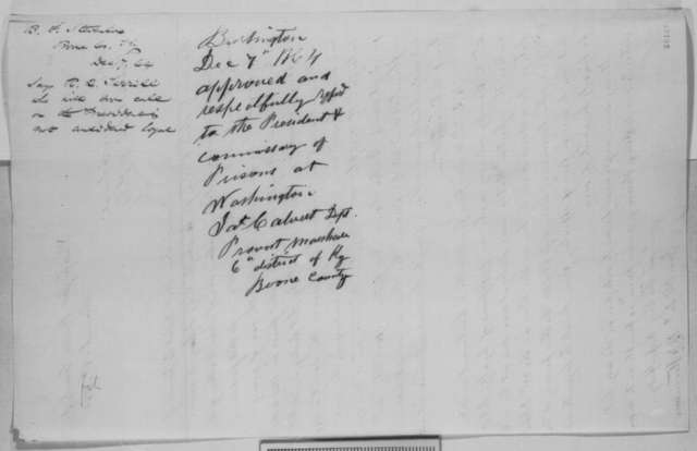 B. F. Stevenson to Abraham Lincoln, Wednesday, December 07, 1864  (Case of Nathan Walton; endorsed by James Calvert)