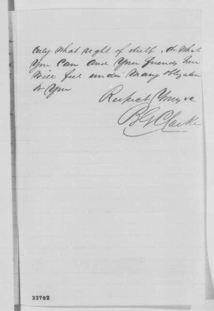 B. G. Clarke to [Montgomery Blair], Sunday, June 12, 1864  (Removal of Samuel Hopkins)