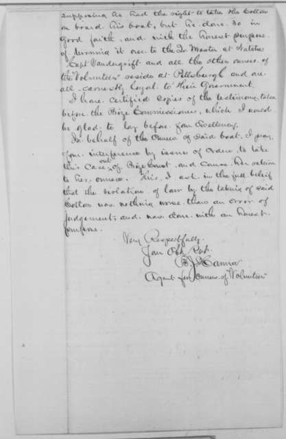 "B. J. Hanna to Abraham Lincoln, Wednesday, March 16, 1864  (Steamboat ""Volunteer"")"