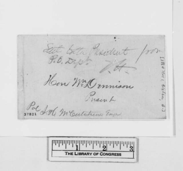 B. Wilson to William Dennison, Tuesday, November 01, 1864  (Politics; endorsed by John Hay on cover)