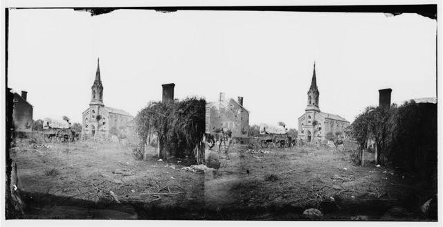 [Baptist Church, Fredericksburg, Virginia, from the backyard of the Sanitary Commission depot]