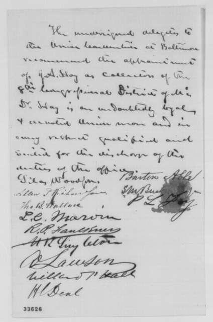 Barton Able, et al., June 8, 1864  (Recommendation)