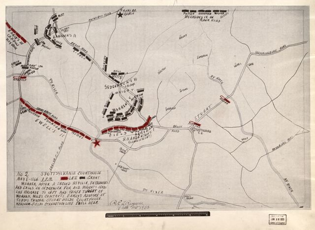 Battle of Spottsylvania [sic] Courthouse, May 8-21, 1864 between Lee (50,000) and Grant (110,000) immediately following Wilderness Battle /