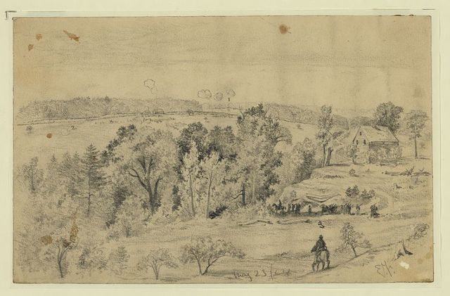 [Battle of the North Anna, from the hill above Jerico Ford showing Confederate lines, Union line, and road to Jerico Ford, Virginia] / E.F.