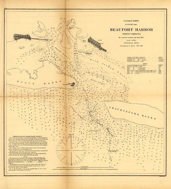 Beaufort harbor, North Carolina. Re-survey in June and July 1862. Corrected up to April 20th 1864