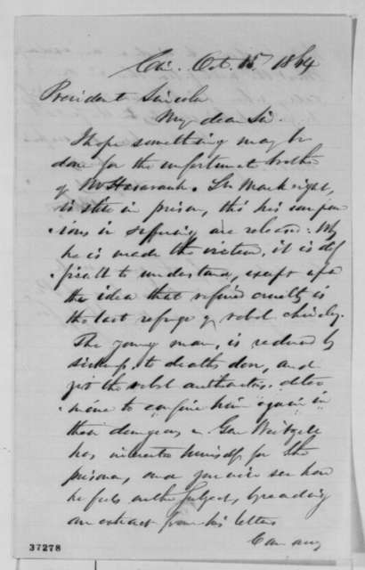 Bellamy Storer to Abraham Lincoln, Saturday, October 15, 1864  (Case of Leopold Markbreit)