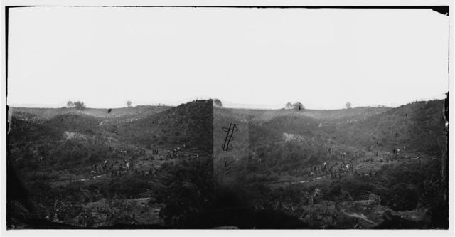 """Belle Plain, Virginia. Encampment of 7,000 Confederates in the """"Punch bowl"""""""