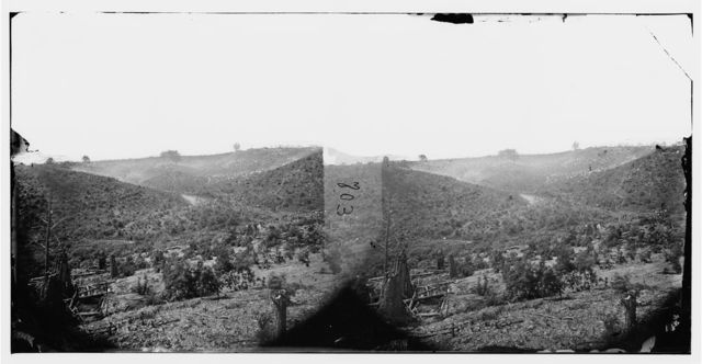 "Belle Plain, Virginia (vicinity). Encampment of 7,000 Confederates in the ""Punch bowl"""