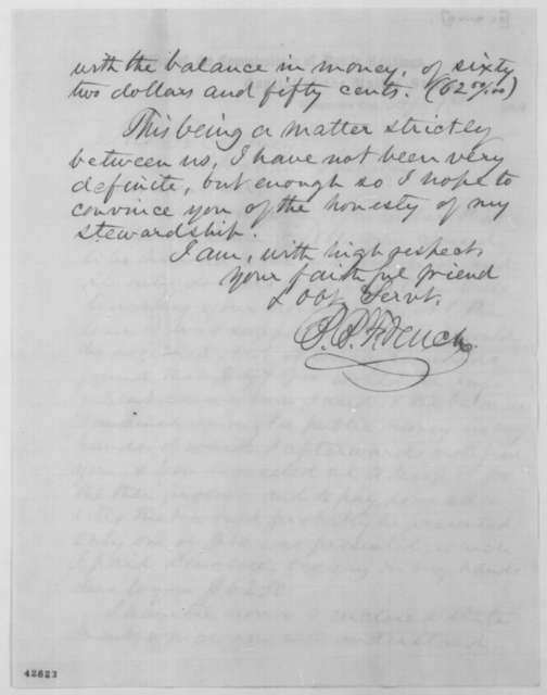 Benjamin B. French to Abraham Lincoln, Friday, April 01, 1864  (Payment of bills)