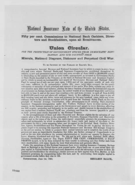 Benjamin Balch, Wednesday, June 01, 1864  (Printed circular)