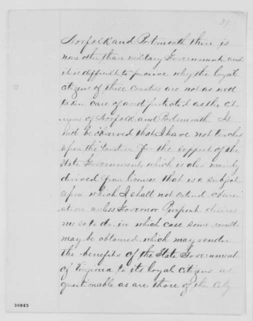 Benjamin F. Butler to Abraham Lincoln, Tuesday, February 23, 1864  (Reply to complaints made by Governor Francis H. Peirpoint)
