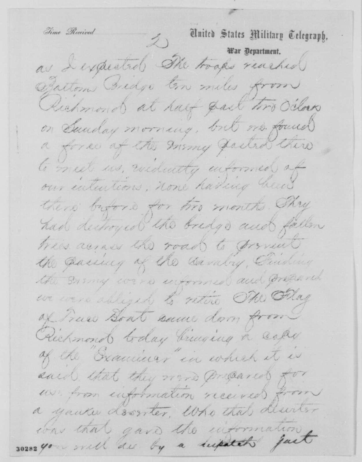 Benjamin F. Butler to Edwin M. Stanton, Monday, February 08, 1864  (Telegram concerning military affairs)